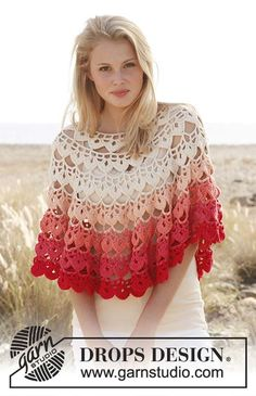 """Crochet Patterns and Projects for Teens - Crochet DROPS poncho in """"Paris"""" - Best Free Patterns and Tutorials for Crocheting Cute DIY Gifts, Room Decor and Accessories - How To for Beginners - Learn How To Make a Headband, Scarf, Hat, Animals and Clothes DIY Projects and Crafts for Teenagers http://diyprojectsforteens.com/crochet-patterns-free"""
