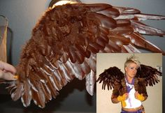 Feathered Wings Tutorial flying monkey wiz of oz Family Halloween Costumes, Halloween 2015, Halloween Crafts, Halloween Decorations, Homemade Costumes, Diy Costumes, Cosplay Costumes, Costume Ideas, Flying Monkey Costume