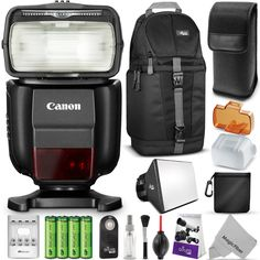 Canon Speedlite 430EX III-RT Flash for Canon DSLR Cameras w/ Essential Bundle - Includes: Sling Backpack, Flash Diffuser, Wireless Remote Control, Rechargeable Batteries w/ Charger, Cleaning Set