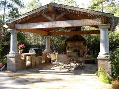 A+DIY+project+by+HGTV+fan+cajuncook99,+this+covered+pavilion+features+a+flagstone+patio+surface,+outdoor+kitchen+and+wood-or-gas+fireplace.