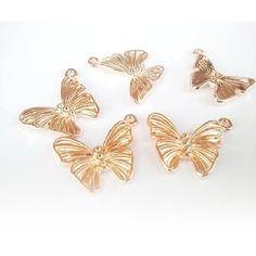 1τεμ Charm Μενταγιον roze gold  πεταλούδα 23x18mm