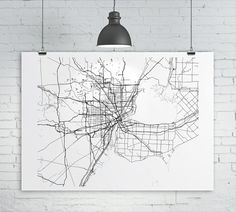 Items similar to Detroit Map Print - Custom map of Detroit, Michigan, Various Sizes & Colors, Map Art Print Poster on Etsy Detroit Map, Detroit Michigan, Map Projects, Wall Maps, Custom Map, Brainstorm, Cartography, Map Art, Wall Spaces