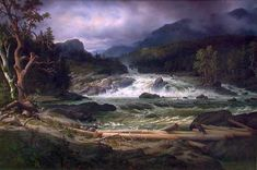Thomas Fearnley Landscape with Waterfall Russian Landscape, Landscape Art, Landscape Paintings, Cool Landscapes, Beautiful Landscapes, A4 Poster, Poster Prints, Moonlight Painting, Hudson River School