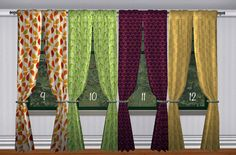 Adele's Victorian Gothic Drapes edited (now has 2 subsets and they are a tiny bit wider now) and recolored in 12 happy, non-Victorian, non-Gothic textures. Edited meshes ARE included, GUIDs are the...