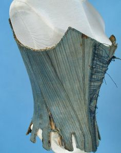Side View of the Stays in Blue. Possibly a 10 panel pair of stays with the gaps between the tabs quite distinctive and curvy - not sharp and sudden like some. 18th Century Stays, 18th Century Dress, 18th Century Costume, 18th Century Clothing, 18th Century Fashion, 19th Century, Vintage Corset, Vintage Underwear, Vintage Outfits