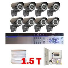 "Complete Professional 8 Channel Full D1 CCTV HDMI DVR (1.5T HD) Surveillance Video System Package with (8) x 700TVL 1/3"" Exview HAD CCD II with Effio-e DSP Devices 2.8~10mm Varifocal Lens, 42pcs IR LED, 131 Feet IR Distance Outdoor Security Camera by Gw. $1745.00. Package Includes:      GW3008 DVR with 1.5T HDD;     Remote Control and mouse;     8 x GW706WD - 1/3"" Exview HAD CCD II Camera;     1 x GW1000RG59: 1000 Feet RG59 Siamese Power/Video Combo Cable;     G..."