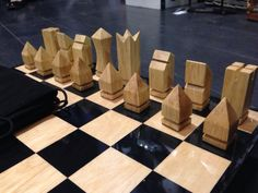 Retro geometric wooden chess set