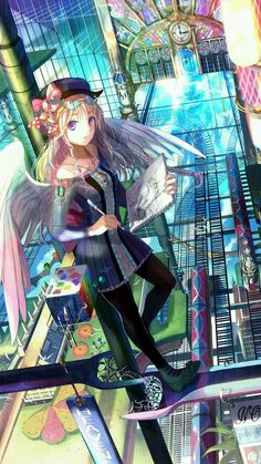 "Tags: ""artist"" ""blonde hair"" ""blue eyes"" ""book"" ""braids"" ""dress"" ""hat"" ""jewelry"" ""long hair"" ""megane"" ""pantyhose"" ""purple eyes"" ""ribbon"" ""smile"" ""wings"" Artist: ""Fuzi Choko"""