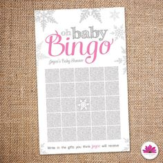 Baby Girl -Baby Shower Bingo - Baby Its Cold Outside Perfect party detail for your winter wonderland baby shower! By purchasing this listing you