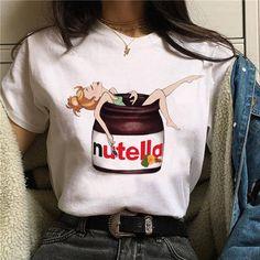 Nutella Kawaii Print T Shirt Women Harajuku Ullzang Fashion T-shirt Graphic Cute Cartoon Tshirt Korean Style Top Tees Female, / XXL Cheap T Shirts, Casual T Shirts, Cute T Shirts, Women's Shirts, Graphic Shirts, Moda Harajuku, Wolf Hoodie, Cartoon T Shirts, Cute Cartoon