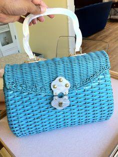 Vintage 1950s aqua woven handbag