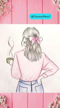 Girl with Coffee Mug Drawing