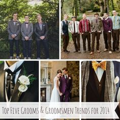 Today I share my top five grooms & groomsmen trends for 2014! Mismatched, Smart Casual, English Heritage, 1920s Art Deco and Colour with ideas for each..