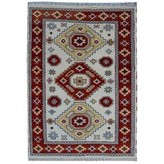 Off-white Hand-knotted Kazak Rug