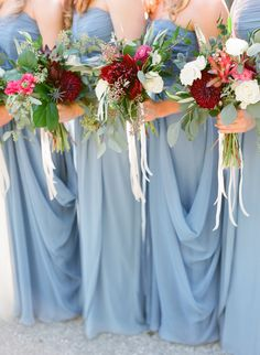 Blue Wedding Flowers Red French Blue Al Fresco Estate Wedding - Natural elegance takes center stage at this Powel Crosley Estate wedding featuring a color palette of french blue and deep red. French Blue Wedding, Blue Wedding Flowers, Burgundy Wedding, Wedding Colors, Wedding Black, Burgundy Flowers, White Flowers, Space Wedding, Mod Wedding