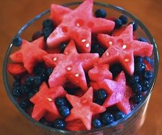 use a star cookie cutter on sliced watermelon and fill the rest of the bowl with blueberries