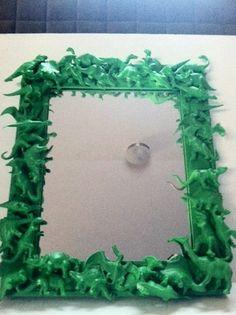 DINOSAUR Neon GREEN Toy Collage Assemblage MIRROR for Child's Room or Nursery, T. Rex, Dino, Prehistoric Kitsch. $40.00, via Etsy.