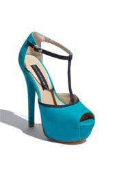 Your shoes, Rachel!-Steven by Steve Madden 'Angels' Pump Turquoise Wedding Shoes, Turquoise Shoes, Dream Shoes, Crazy Shoes, Cute Shoes, Me Too Shoes, Shoe Boots, Shoes Heels, T Strap Shoes
