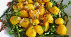αμπελοφάσουλα και πατάτες με τον αντιβασιλιά κουρκουμά - Pandespani.com Potato Salad, Shrimp, Meat, Vegetables, Ethnic Recipes, Food, Greek, Flower, Kitchens