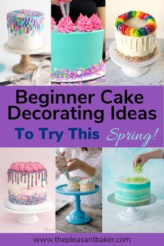 This weeks post is a round up of some adorable cakes perfect for beginner cake decorating! Cake Decorating For Beginners, Easy Cake Decorating, Birthday Cake Decorating, Cake Decorating Techniques, Cake Decorating Tutorials, Decorating Ideas, Cake Decorating Frosting, Fondant Cake Tutorial, Fondant Cakes