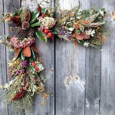 Not sure what to call this door or window piece... garland? Everlasting beauty. #farmerflorist #slowflowers #wreath #seasonalfloweralliance #wataugacountyfarmersmarket #falldecorating #falldecor #fallstyle #gardenandgun