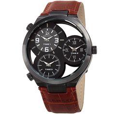 Joshua & Sons Men's Quartz Triple Time Zone Tan Strap Watch