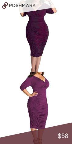 "🆕Plus Size Deep V Neck Wrap Ruched Waisted Dress L: Waist:31.5"", Hip:37"", Bust:36.2"", Length:42.5"", Sleeve Length:16.5""  XL: Waist:33.1"", Hip:38.6"", Bust:37.8"", Length:43.3"", Sleeve Length:16.9""  2XL: Waist:34.7"", Hip:40.2"", Bust:39.4"", Length:44.2"",Sleeve Length:17.3""  3XL: Waist:36.2"", Hip:41.7"", Bust:40.9"", Length:44.8"", Sleeve Length:17.7"" Dresses"