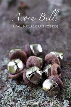 How to Make Whimsical Acorn Bells for Imaginative Play is part of Fall crafts Acorns - Acorn Bells, an easy nature craft for kids, are a sweet addition to gardens, fairy houses, or fall decor Acorn Crafts, Holiday Crafts, Christmas Crafts, Crafts With Acorns, Natural Christmas Ornaments, Outdoor Christmas, Spring Crafts, Kids Christmas, Christmas Trees