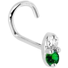 20 Gauge Left Nostril - 14k White Gold 1.5mm Genuine Emerald Diamond Marquise Nose Ring Body Candy. $138.99