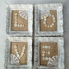 DIY Burlap, vintage buttons - without the doilies Burlap Projects, Burlap Crafts, Diy And Crafts, Craft Projects, Arts And Crafts, Button Art, Button Crafts, Cuadros Diy, Doily Art
