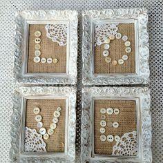 DIY Burlap, vintage buttons - without the doilies Burlap Projects, Burlap Crafts, Diy And Crafts, Craft Projects, Arts And Crafts, Button Art, Button Crafts, Cuadros Diy, Doily Art