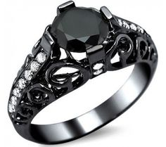 $1,295.00  1.78ct Black Round Diamond Engagement Ring 14k Black Gold Vintage Style