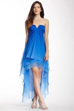 Hi-Lo Ombre Strapless Dress