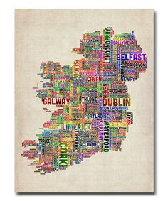 Take a look at this Ireland City Text Map II Gallery-Wrapped Canvas by Michael Tompsett on #zulily today!