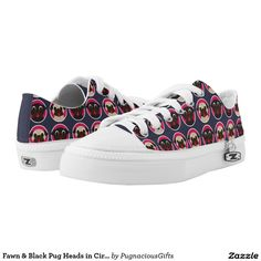Fawn Black Pug Heads In Circles Low Top Sneakers #fawn #black #pug #heads #in #circles #low #top #sneakers