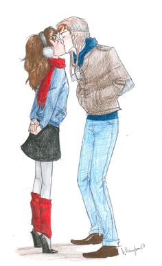 """""""Ron and Hermione"""" love how she's in tip toes and yet he still needs to crouch down. Adorable."""