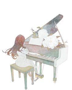 Bonito Dibujo de Pianista