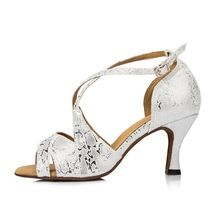 Glitter Whiter And Silver Latin Dance Shoes Woman Ballroom Shoes...