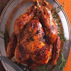 Maple-Glazed Roast Turkey with Apple Cider Gravy | http://www.rachaelraymag.com/Recipes/rachael-ray-magazine-recipe-search/dinner-recipes/maple-glazed-roast-turkey-with-apple-cider-gravy