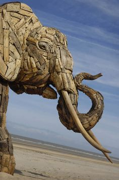 Elephant Sculptures made from driftwood by South African artist Andries Botha and a team of 10 African artists.