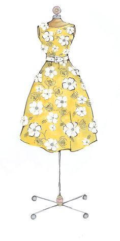 Fashion sketch, embroidered yellow dress by Mariana Leung of MsFABulous.com