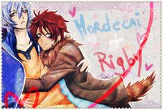 Mordecai and Rigby from Regular Show Gijinka style (another style? : O shojo? xD ) This is a card that a friend asked me, hope you like it :3 _________ Es una tarjeta que hice para una amiga por su...
