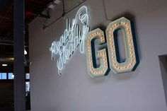 Neon wall art. | 43 Ways Pinterest's Office Is The DIY Paradise You'd Expect (ER MY GERD! I would love this in my casa!)