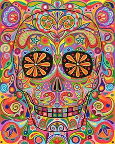 Shop Psychedelic Sugar Skull Pillow created by thaneeyamcardle. Personalize it with photos & text or purchase as is! Los Muertos Tattoo, Catrina Tattoo, Skull Pillow, Art Tumblr, Day Of The Dead Art, Sugar Skull Art, Sugar Skulls, Candy Skulls, Mexican Folk Art