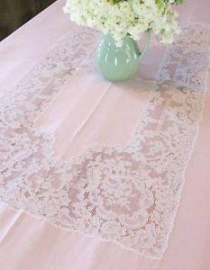 Antique Bridal Blush Pink French Alencon Lace Banquet Tablecloth 12 LG Napkins | Vintageblessings