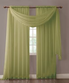 Warm Home Designs Pair of Sage Green Voile Sheer Curtains or Valance Scarf