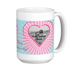Aqua and Pink coral Heart Photo template Mugs. Just enter your Image and Name for a beautifully customized T-shirt.