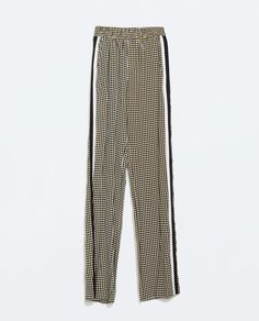 ZARA - WOMAN - PRINTED TROUSERS WITH SIDE BANDS