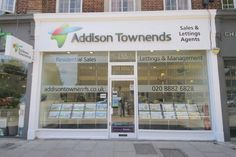 Addison Townends (London) - Built-up LED lettering with digitally produced vinyl onto signtray. Complete with window displays and graphics. #Fascia #EstateAgents #Signage