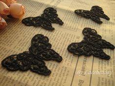 4pcs Appliques Black Venice Butterflies Cute Lace by Lacebeauty, $2.99